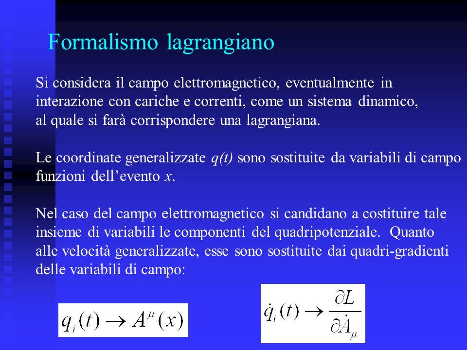 Formalismo lagrangiano Si considera il campo elettromagnetico, eventualmente in interazione con cariche e correnti, come un sistema dinamico, al quale
