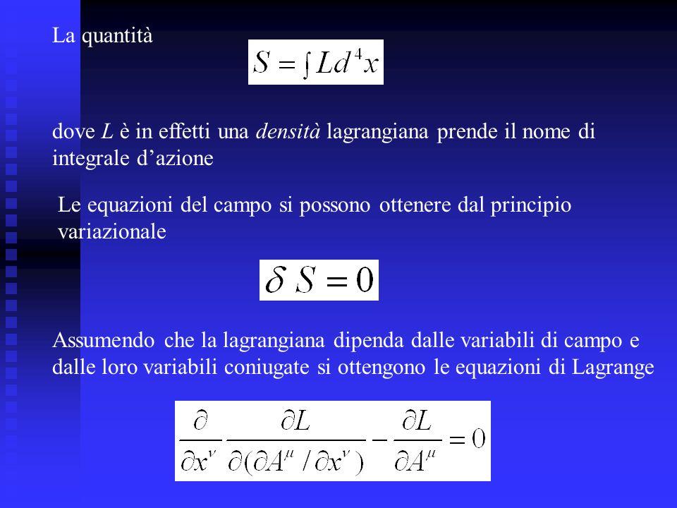 La quantità dove L è in effetti una densità lagrangiana prende il nome di integrale dazione Le equazioni del campo si possono ottenere dal principio v