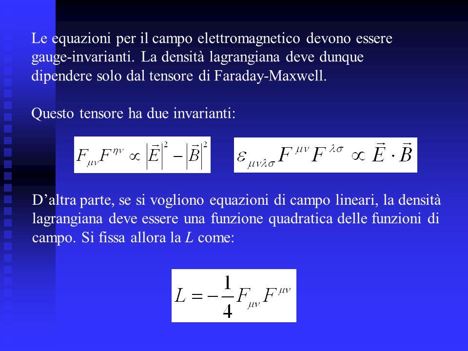 Le equazioni per il campo elettromagnetico devono essere gauge-invarianti. La densità lagrangiana deve dunque dipendere solo dal tensore di Faraday-Ma