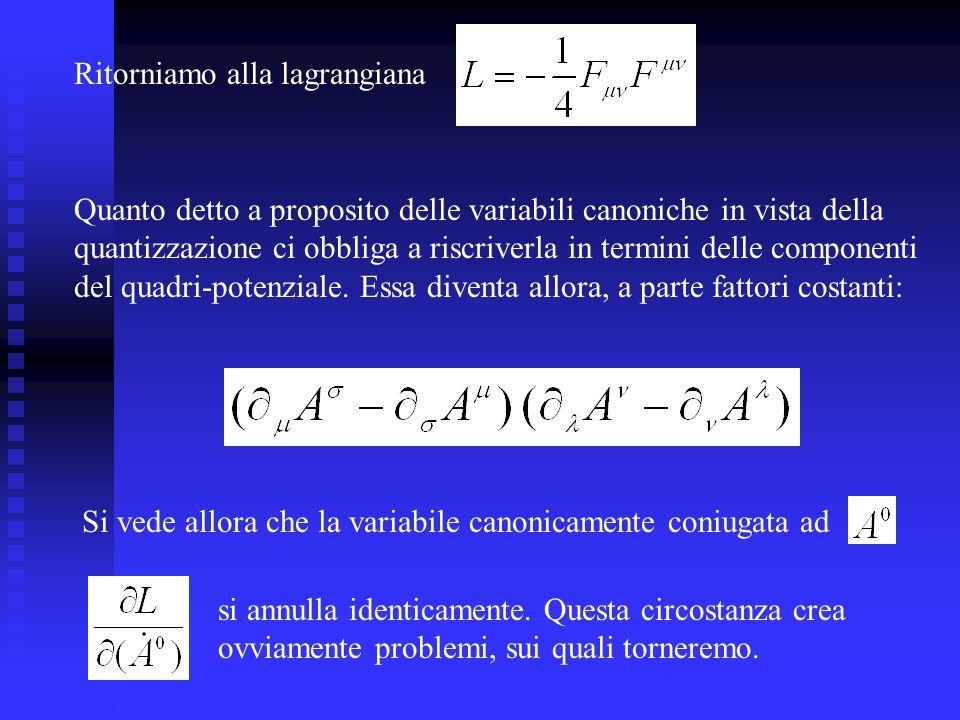 Ritorniamo alla lagrangiana Si vede allora che la variabile canonicamente coniugata ad si annulla identicamente. Questa circostanza crea ovviamente pr