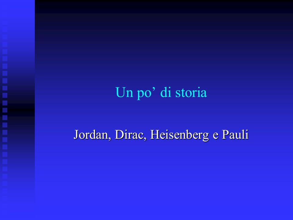 Un po di storia Jordan, Dirac, Heisenberg e Pauli