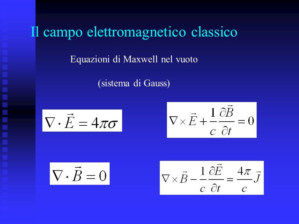 Formalismo lagrangiano Si considera il campo elettromagnetico, eventualmente in interazione con cariche e correnti, come un sistema dinamico, al quale si farà corrispondere una lagrangiana.