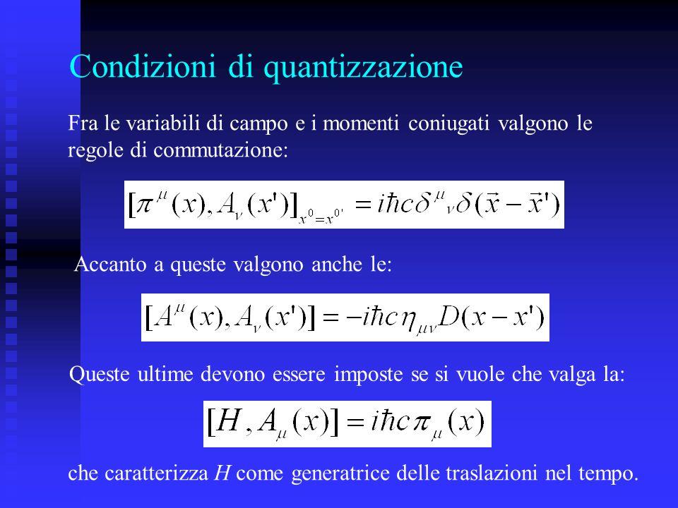Condizioni di quantizzazione Fra le variabili di campo e i momenti coniugati valgono le regole di commutazione: Accanto a queste valgono anche le: Que