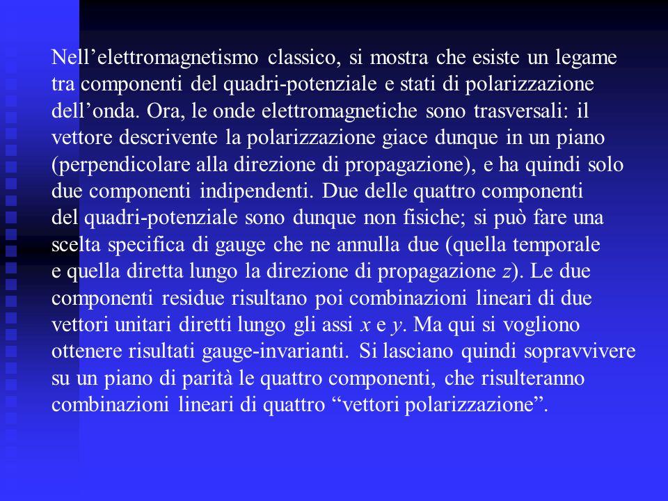 Nellelettromagnetismo classico, si mostra che esiste un legame tra componenti del quadri-potenziale e stati di polarizzazione dellonda. Ora, le onde e