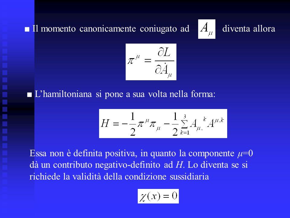 Il momento canonicamente coniugato addiventa allora Lhamiltoniana si pone a sua volta nella forma: Essa non è definita positiva, in quanto la componen