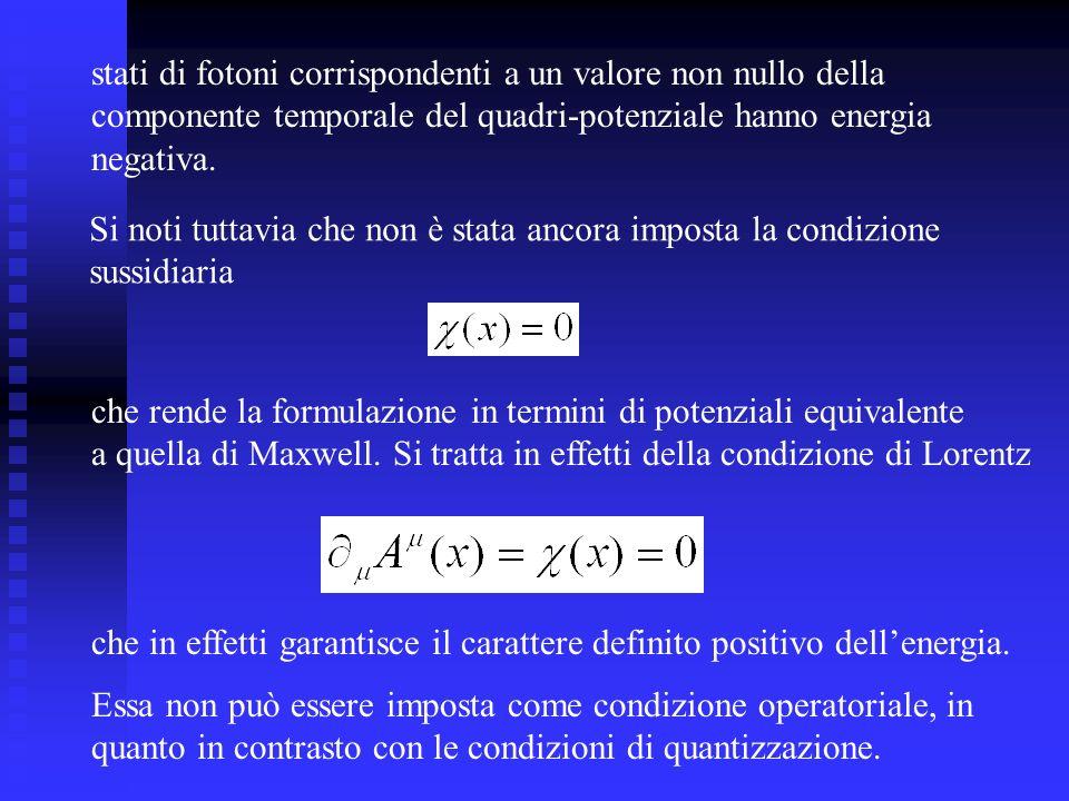 stati di fotoni corrispondenti a un valore non nullo della componente temporale del quadri-potenziale hanno energia negativa. Si noti tuttavia che non