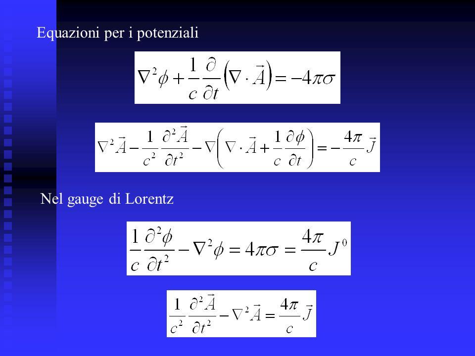 Equazioni per i potenziali Nel gauge di Lorentz