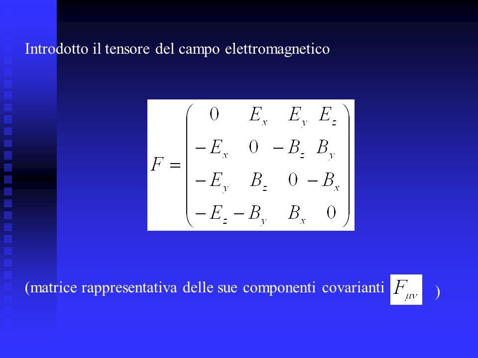 Introdotto il tensore del campo elettromagnetico (matrice rappresentativa delle sue componenti covarianti )