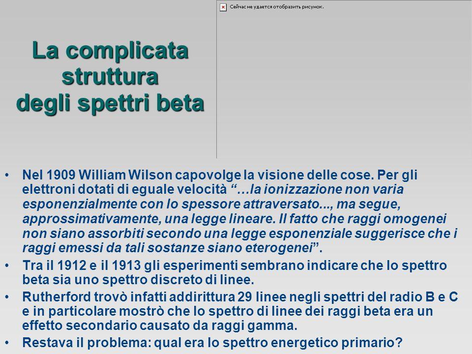 La complicata struttura degli spettri beta Nel 1909 William Wilson capovolge la visione delle cose.