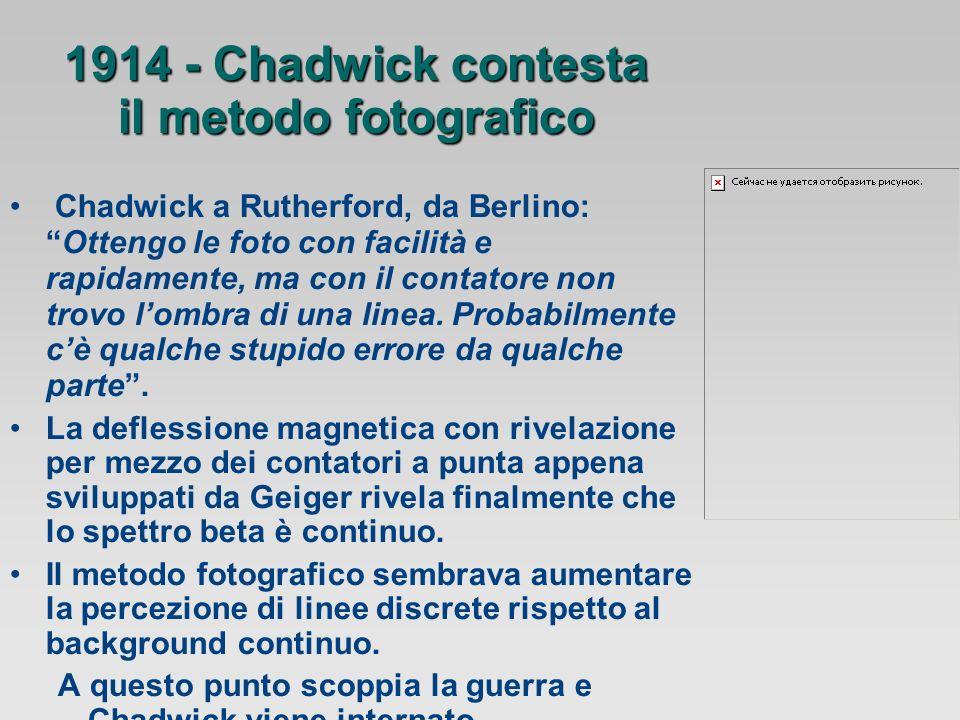 1914 - Chadwick contesta il metodo fotografico Chadwick a Rutherford, da Berlino:Ottengo le foto con facilità e rapidamente, ma con il contatore non trovo lombra di una linea.