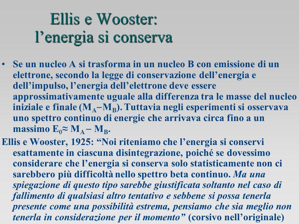 Ellis e Wooster: lenergia si conserva Se un nucleo A si trasforma in un nucleo B con emissione di un elettrone, secondo la legge di conservazione dellenergia e dellimpulso, lenergia dellelettrone deve essere approssimativamente uguale alla differenza tra le masse del nucleo iniziale e finale (M A M B ).