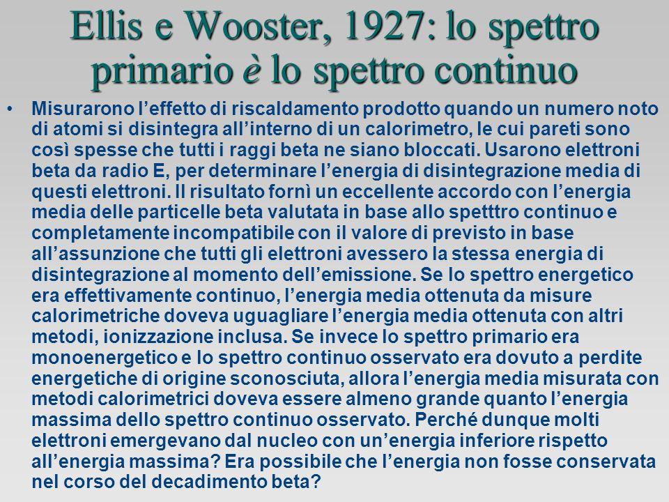 Ellis e Wooster, 1927: lo spettro primario è lo spettro continuo Misurarono leffetto di riscaldamento prodotto quando un numero noto di atomi si disintegra allinterno di un calorimetro, le cui pareti sono così spesse che tutti i raggi beta ne siano bloccati.