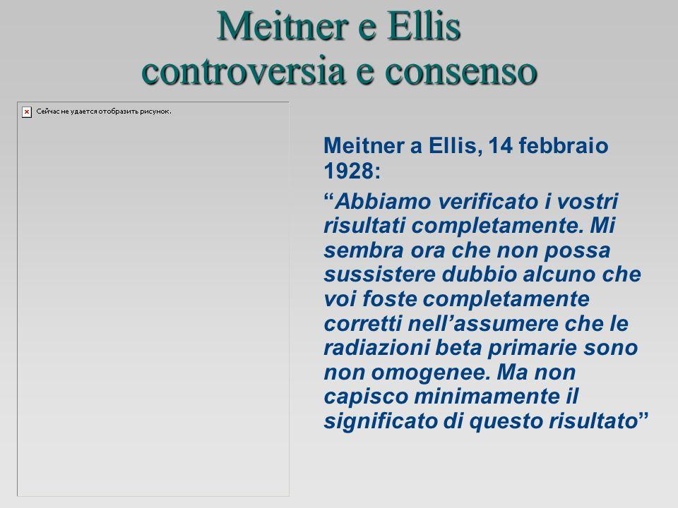 Meitner a Ellis, 14 febbraio 1928: Abbiamo verificato i vostri risultati completamente.
