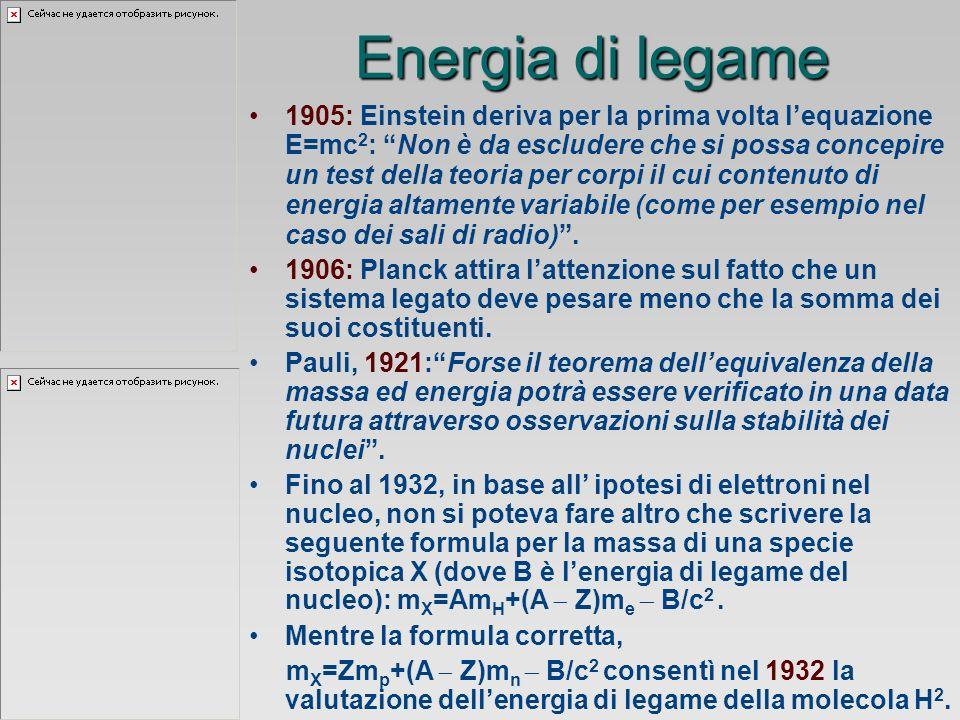 Energia di legame 1905: Einstein deriva per la prima volta lequazione E=mc 2 : Non è da escludere che si possa concepire un test della teoria per corpi il cui contenuto di energia altamente variabile (come per esempio nel caso dei sali di radio).