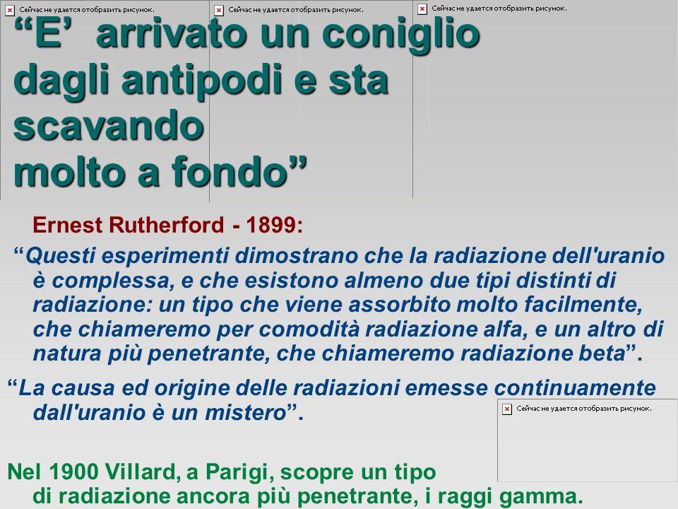 Ernest Rutherford - 1899: Questi esperimenti dimostrano che la radiazione dell uranio è complessa, e che esistono almeno due tipi distinti di radiazione: un tipo che viene assorbito molto facilmente, che chiameremo per comodità radiazione alfa, e un altro di natura più penetrante, che chiameremo radiazione beta.