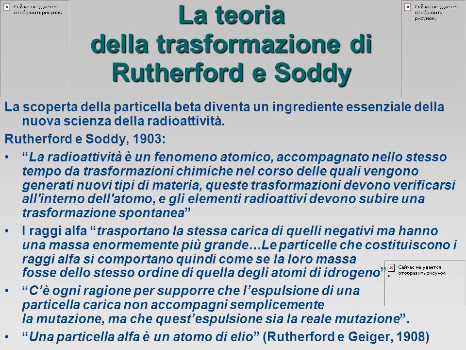 La teoria della trasformazione di Rutherford e Soddy La scoperta della particella beta diventa un ingrediente essenziale della nuova scienza della radioattività.