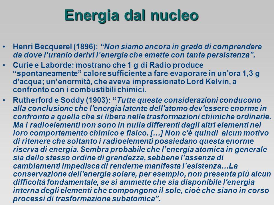 Energia dal nucleo Henri Becquerel (1896): Non siamo ancora in grado di comprendere da dove luranio derivi lenergia che emette con tanta persistenza.