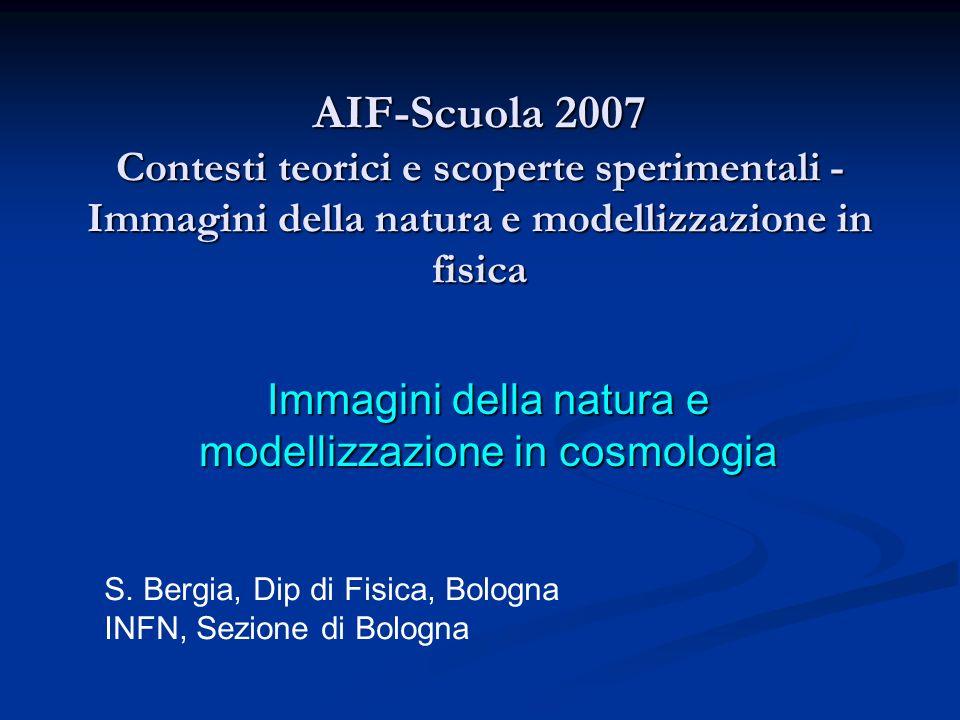 AIF-Scuola 2007 Contesti teorici e scoperte sperimentali - Immagini della natura e modellizzazione in fisica Immagini della natura e modellizzazione i