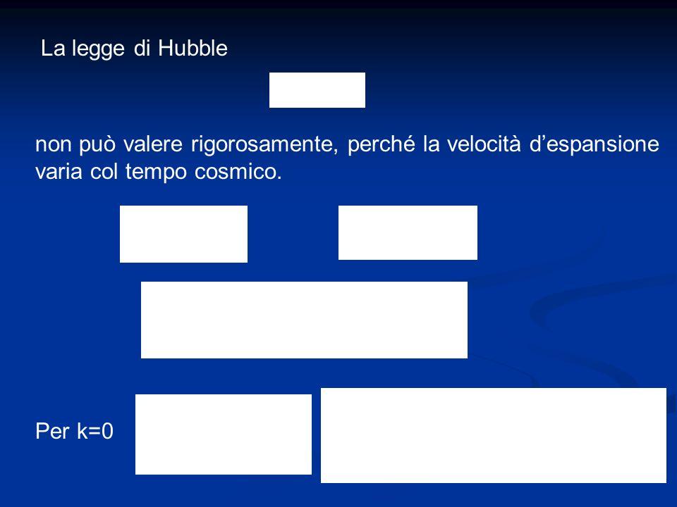 La legge di Hubble non può valere rigorosamente, perché la velocità despansione varia col tempo cosmico. Per k=0