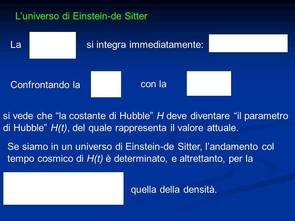 Luniverso di Einstein-de Sitter Lasi integra immediatamente: Confrontando la si vede che la costante di Hubble H deve diventare il parametro di Hubble