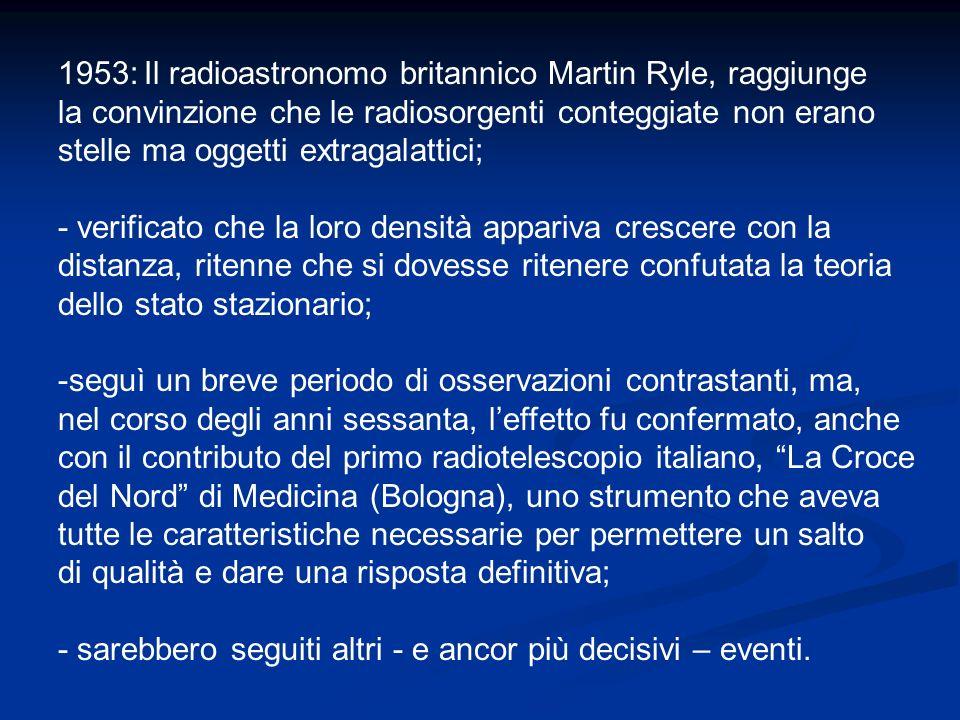1953: Il radioastronomo britannico Martin Ryle, raggiunge la convinzione che le radiosorgenti conteggiate non erano stelle ma oggetti extragalattici;
