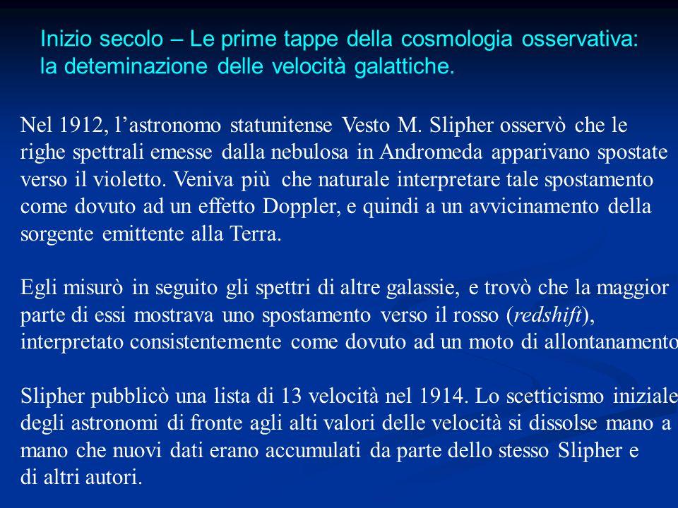 Nel 1912, lastronomo statunitense Vesto M. Slipher osservò che le righe spettrali emesse dalla nebulosa in Andromeda apparivano spostate verso il viol