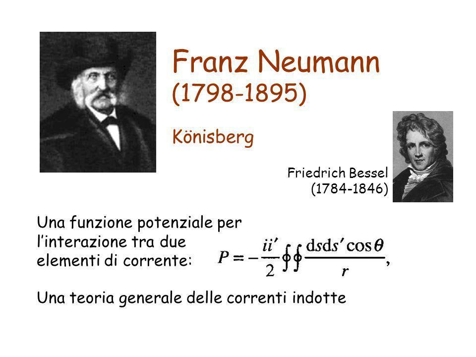 Franz Neumann (1798-1895) Una funzione potenziale per linterazione tra due elementi di corrente: Una teoria generale delle correnti indotte Könisberg