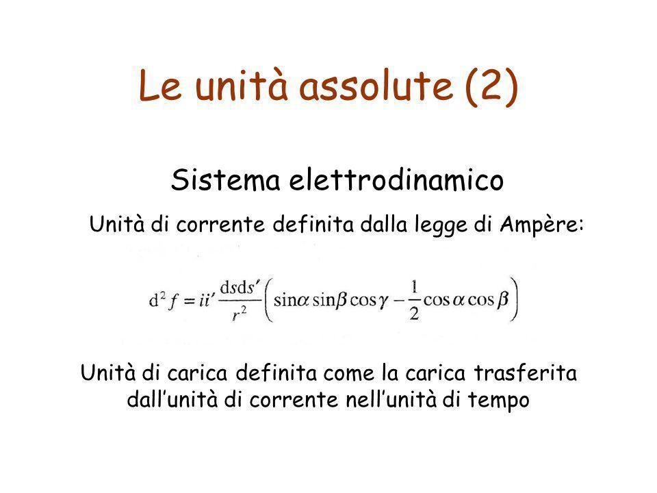 Le unità assolute (2) Sistema elettrodinamico Unità di corrente definita dalla legge di Ampère: Unità di carica definita come la carica trasferita dal
