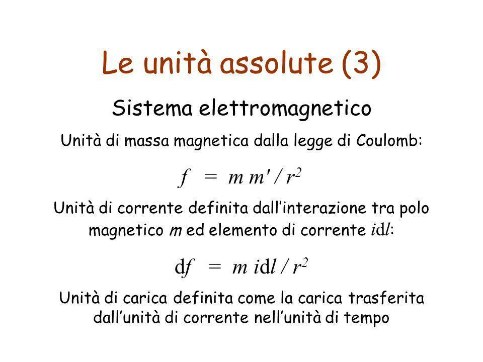 Le unità assolute (3) Sistema elettromagnetico Unità di massa magnetica dalla legge di Coulomb: f = m m' / r 2 Unità di corrente definita dallinterazi