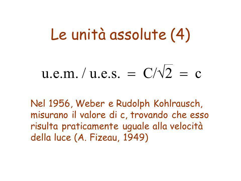 Le unità assolute (4) u.e.m. / u.e.s. C/2 c Nel 1956, Weber e Rudolph Kohlrausch, misurano il valore di c, trovando che esso risulta praticamente ugua