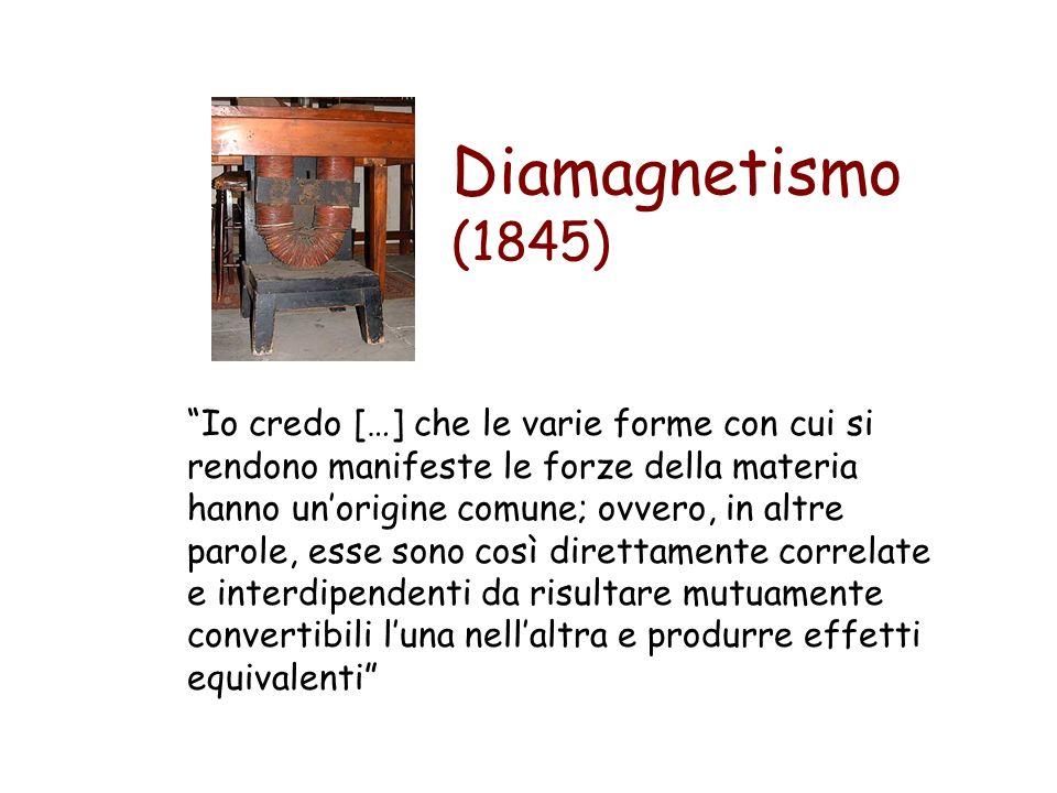 Diamagnetismo (1845) Io credo […] che le varie forme con cui si rendono manifeste le forze della materia hanno unorigine comune; ovvero, in altre paro