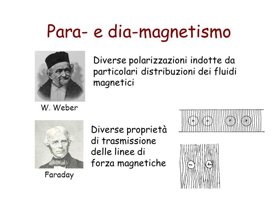 Para- e dia-magnetismo W. Weber Diverse polarizzazioni indotte da particolari distribuzioni dei fluidi magnetici Faraday Diverse proprietà di trasmiss