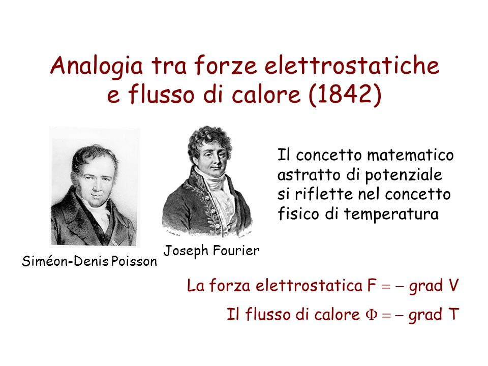 Analogia tra forze elettrostatiche e flusso di calore (1842) Siméon-Denis Poisson Joseph Fourier Il concetto matematico astratto di potenziale si rifl