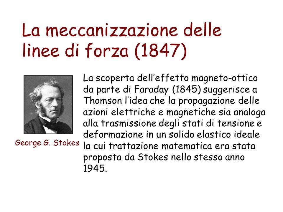 La meccanizzazione delle linee di forza (1847) George G. Stokes La scoperta delleffetto magneto-ottico da parte di Faraday (1845) suggerisce a Thomson
