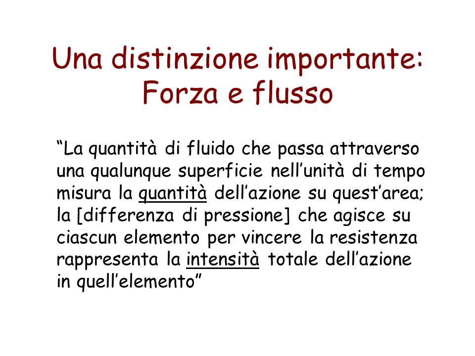 Una distinzione importante: Forza e flusso La quantità di fluido che passa attraverso una qualunque superficie nellunità di tempo misura la quantità d