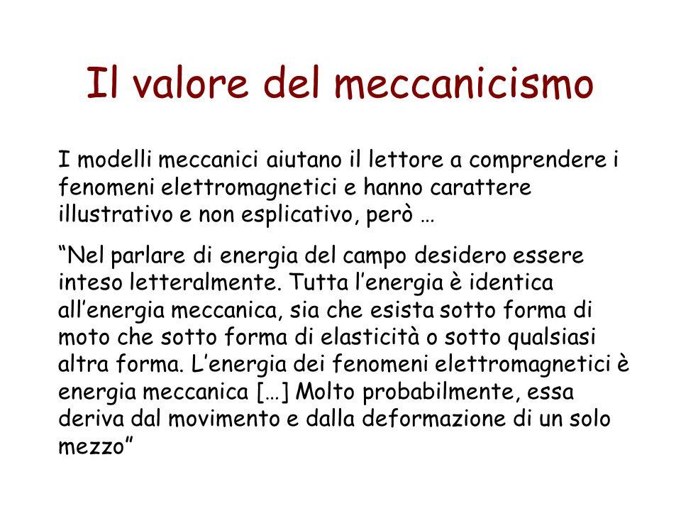 Il valore del meccanicismo I modelli meccanici aiutano il lettore a comprendere i fenomeni elettromagnetici e hanno carattere illustrativo e non espli