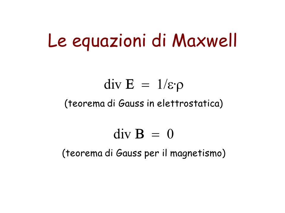 Le equazioni di Maxwell div 1/. (teorema di Gauss in elettrostatica) div 0 (teorema di Gauss per il magnetismo)
