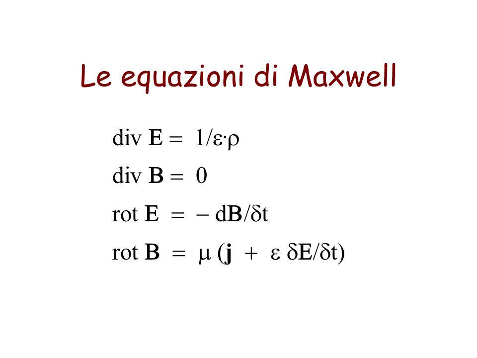 Le equazioni di Maxwell div 1/. div 0 rot d / t rot j t