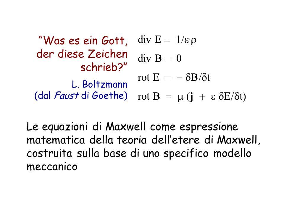 Was es ein Gott, der diese Zeichen schrieb? L. Boltzmann (dal Faust di Goethe) Le equazioni di Maxwell come espressione matematica della teoria dellet