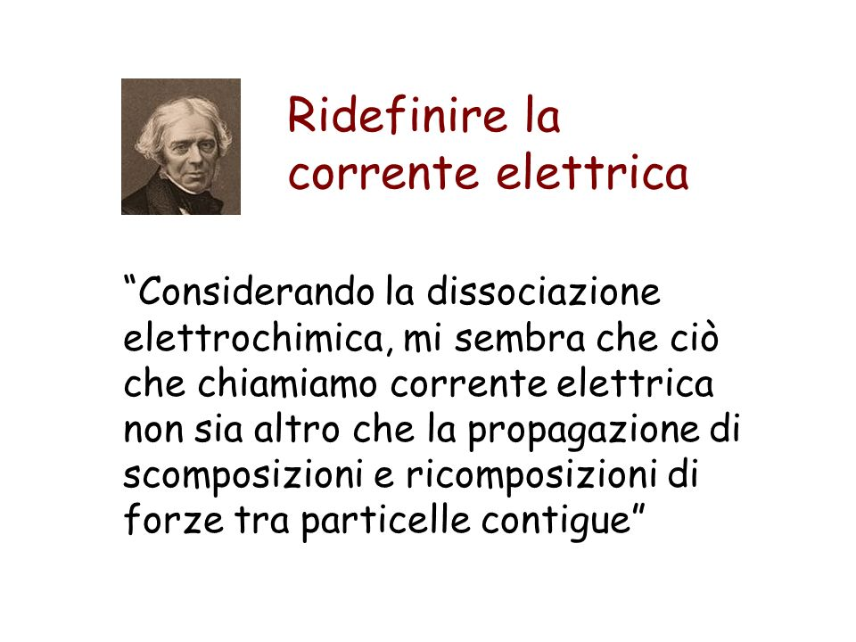 Ridefinire la corrente elettrica Considerando la dissociazione elettrochimica, mi sembra che ciò che chiamiamo corrente elettrica non sia altro che la