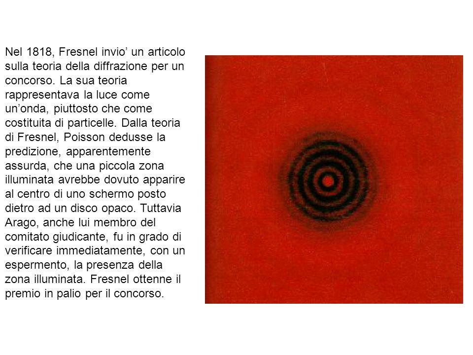 Nel 1818, Fresnel invio un articolo sulla teoria della diffrazione per un concorso. La sua teoria rappresentava la luce come unonda, piuttosto che com