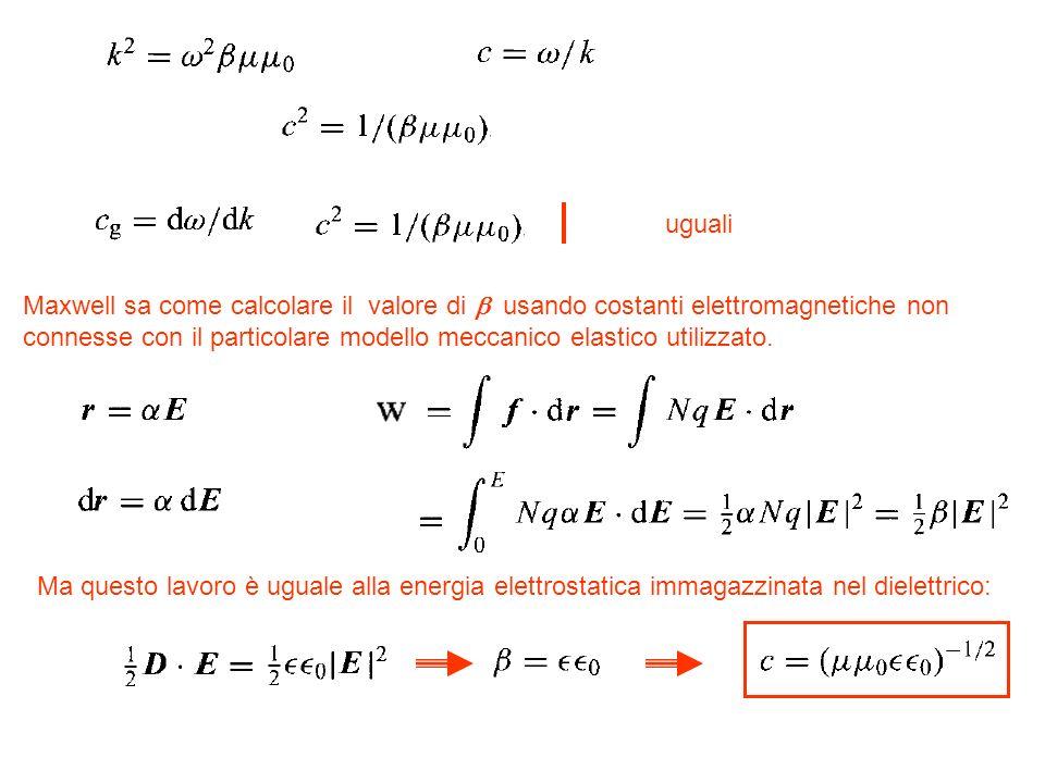 uguali Maxwell sa come calcolare il valore di usando costanti elettromagnetiche non connesse con il particolare modello meccanico elastico utilizzato.