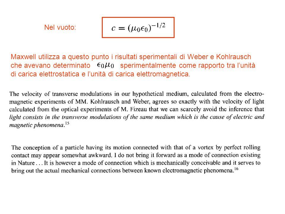 Nel vuoto: Maxwell utilizza a questo punto i risultati sperimentali di Weber e Kohlrausch che avevano determinato sperimentalmente come rapporto tra l