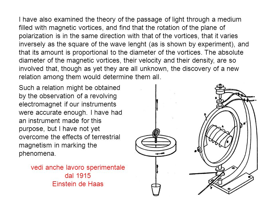 From the determination by Kohlrausch and Weber of the numerical relation between the statical and magnetic effects of eletricity, I have determined the elasticity of the medium in air, and assuming that it is the same with the luminiferous ether, I have determined the velocity of propagation of transverse vibrations.