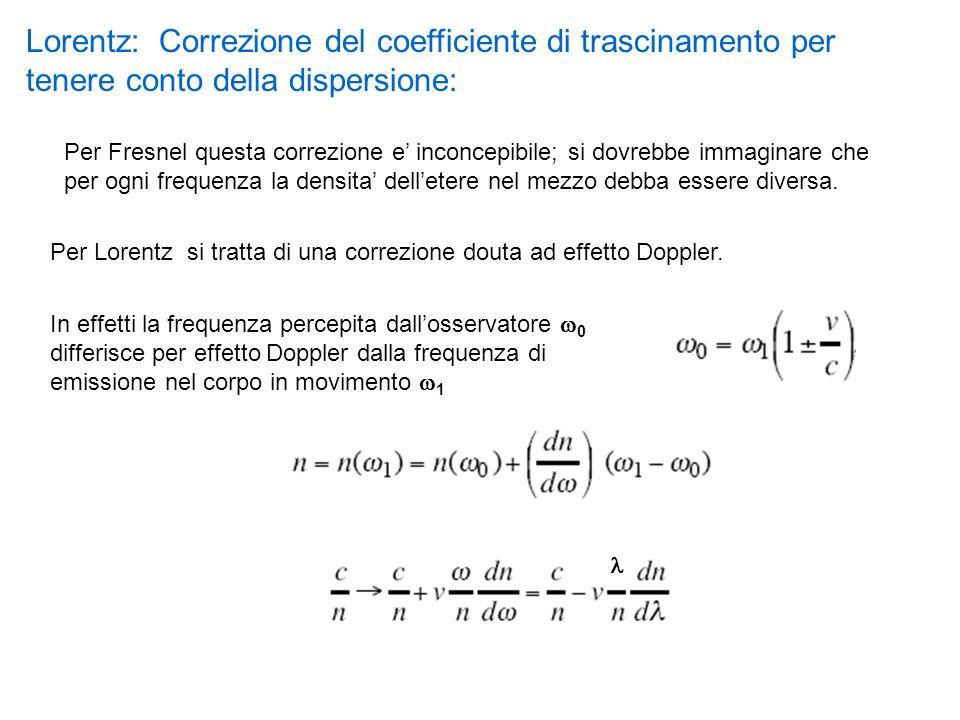 Per Lorentz si tratta di una correzione douta ad effetto Doppler. Lorentz: Correzione del coefficiente di trascinamento per tenere conto della dispers
