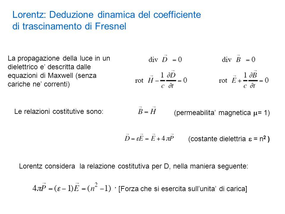 La propagazione della luce in un dielettrico e descritta dalle equazioni di Maxwell (senza cariche ne correnti) Le relazioni costitutive sono: (permea