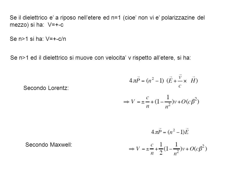 Se il dielettrico e a riposo nelletere ed n=1 (cioe non vi e polarizzazine del mezzo) si ha: V=+-c Se n>1 si ha: V=+-c/n Se n>1 ed il dielettrico si m