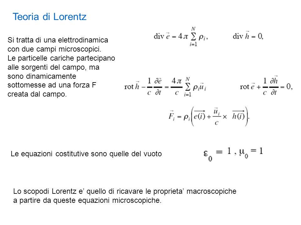 Teoria di Lorentz Le equazioni costitutive sono quelle del vuoto Si tratta di una elettrodinamica con due campi microscopici. Le particelle cariche pa