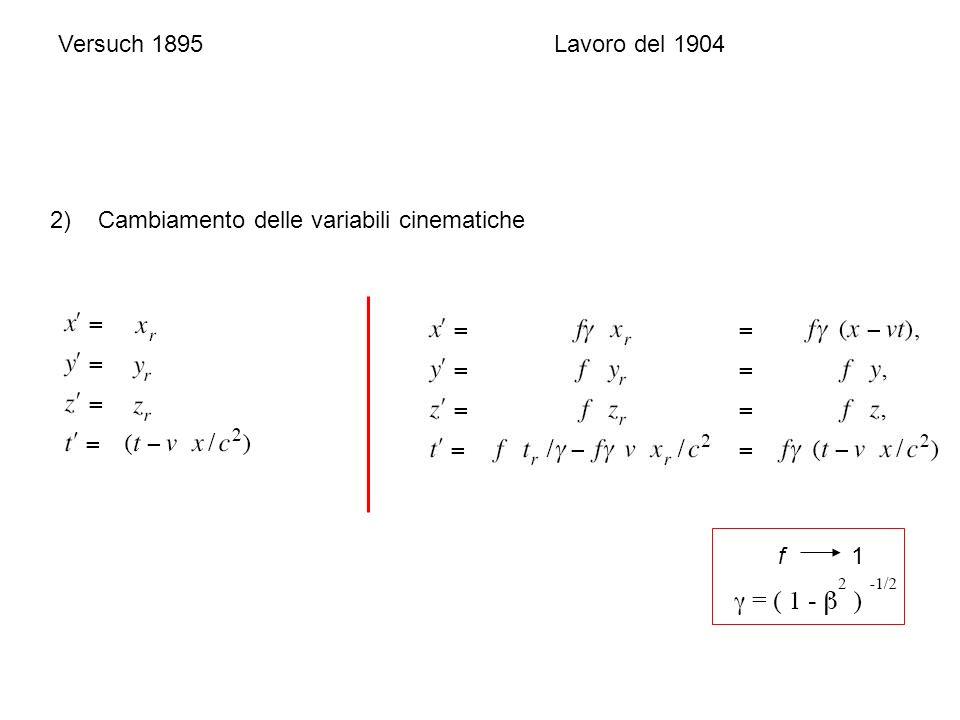 Versuch 1895Lavoro del 1904 2) Cambiamento delle variabili cinematiche f 1