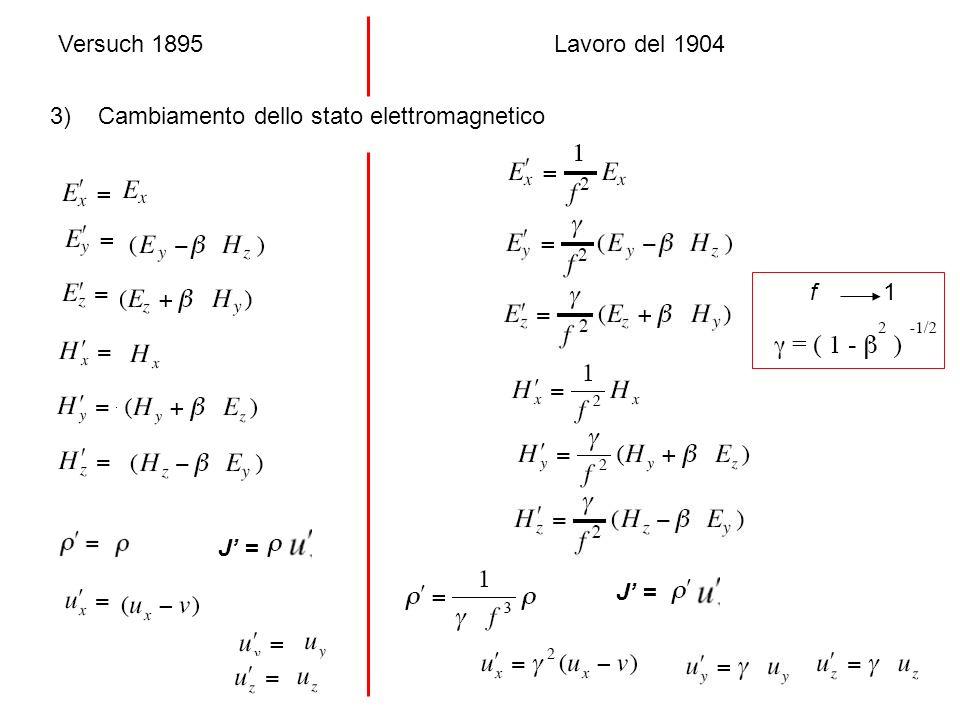 Versuch 1895 f 1 Lavoro del 1904 3) Cambiamento dello stato elettromagnetico J =